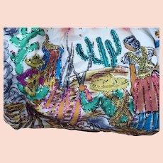 Sequin Painted Mexican  Souvenir Skirt