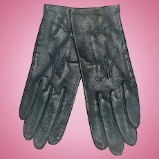 Ladies Navy Leather Gloves