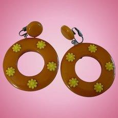 Bakelite Flower Earrings
