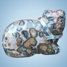 Agate Sterling Cat Pin