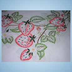 Hand Embroidered Strawberry Tablecloth