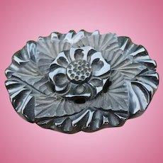 Black Bakelite Carved Floral Pin