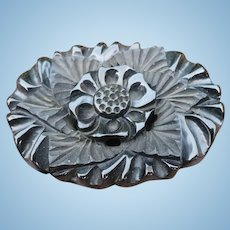 Black Bakelite Carved Floral Pin
