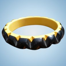 Cast Carved Black Cream  Bakelite Bracelet