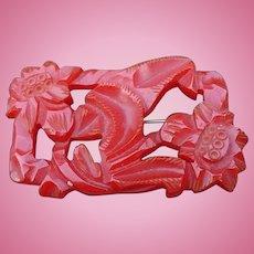 Red Carved Bakelite Pin