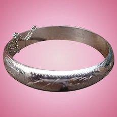 Sterling Etched Bangle Bracelet