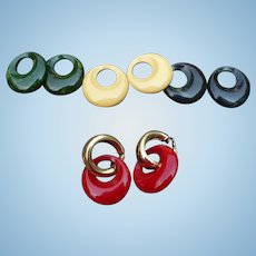 Napier Bakelite Hoop Earring Set