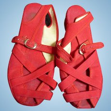 Red Canvas Sandals