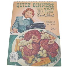 1942 Cookbook Quick Diinners for Woman in a Hurry