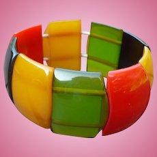 Multicolor Bakelite Stretch Bracelet