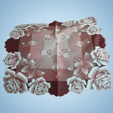 Sepia Roses Handkerchief