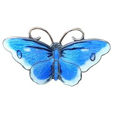 Blue Enamel Sterling  Butterfly Pin Norway Prydz