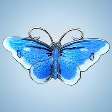 Blue Enamel Sterling  Butterfly Pin Norway Prydz