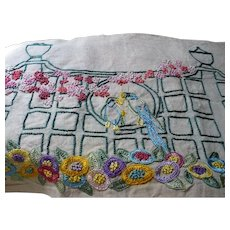 Embroidered Birds Pillow Cover