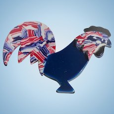 Lea Stein Patriotic Rooster Pin