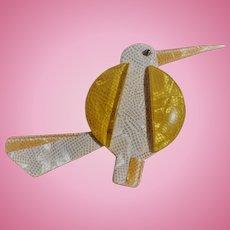 Lea Stein Yellow Bird Pin