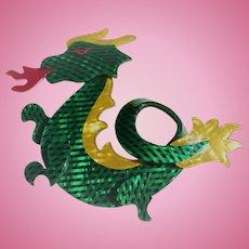Lea Stein Green Dragon Pin
