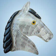 Large Lucite Bakelite Horse Pin
