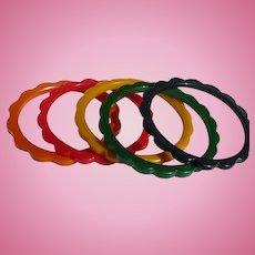 Bakelite Set Scalloped Bracelets