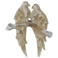 Lucite Lovebirds Pin