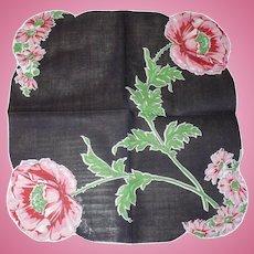 Black Floral Handkerchief