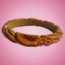 Bakelite Deep Carved  Floral Bracelet
