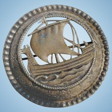 Viking Ship Silver Pin