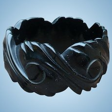 Bakelite Wide Black Carved Bracelet