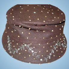 Beaded Brown Felt Hat