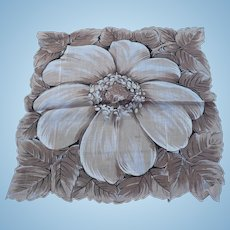 Sepia Floral Handkerchief