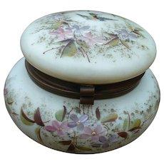 Victorian Milk Glass Painted Jar