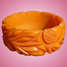 Orange Bakelite Acorn Bracelet