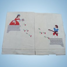 Romeo Juliet Embroidered Towels