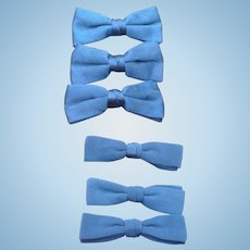 6 Blue Silk  Bowties