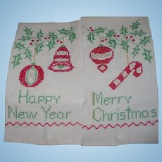 Embroidered Xmas New Years Towels
