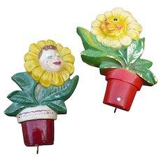 Plaster  Flower Face Hangings