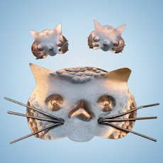 Copper Hand Wrought Cat Pin & earrings