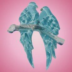 Lucite  Blue Lovebirds Pin