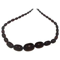 Cherry Amber Bakelite Bead Necklace