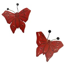 Red Bakelite Butterflly Pins