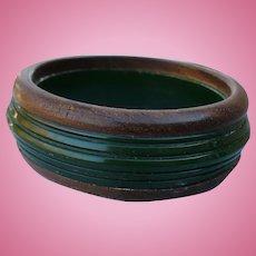 Green Bakelite Wood Bracelet