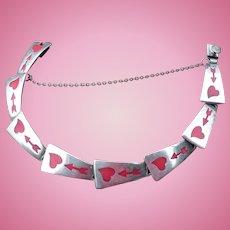 Sterliing Enamel Heart Bracelet