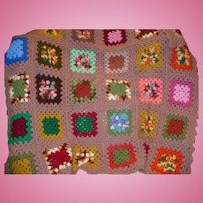 Granny Square Crochet Throw