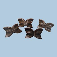 4 Bakelite Bow Butterfly Buttons