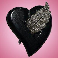 Bakelite Rhinestone Heart Pin