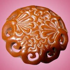 Carved Brown Floral Bakelite Pin