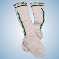 Tyrolean Embroidered Child's Knee Stockings