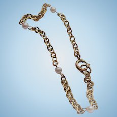Gold Pearl Chain Bracelet
