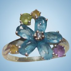 Pastel Peridot Flower Ring
