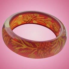 Reverse Carved Red Bakelite Bracelet